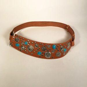 Vintage Leather Belt, Adjustable size, Tan/Silver